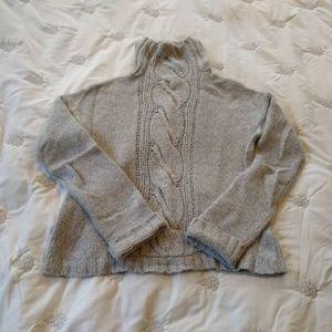 GAP Wool Blend Cable Knit Crop Turtleneck Sweater
